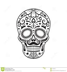 Sugar Skull Black Tattoo Mexican Day Of The Dead Vector