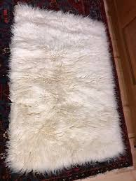 vintage flokati sheep wool rug handmade greece 54 x 36
