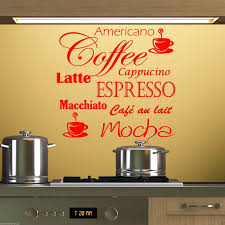 coffee mocha latte espresso wall art sticker vinyl splash back kitchen cappuccino