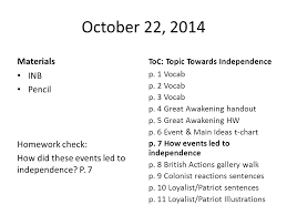 British Actions And Colonial Reactions Chart Colonial Reactions October 22 2014 Materials Inb Pencil