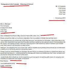 Resignation Of Employment Resignation Letter Example Returning To School