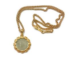 chanel cc gold plated round mirror large pendant necklace chanel at truefacet