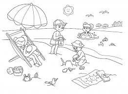 Bambini Che Giocano In Spiaggia Disegni Da Colorare Mare Mare