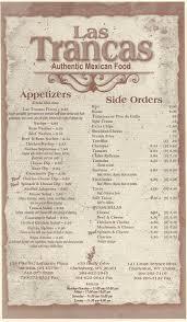 las trancas mexican restaurant clarksburg wv morgantown s menu  las trancas mexican restaurant