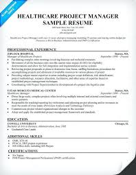 Resume For Hospital Job Healthcare Project Manager Resume Example