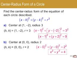 2 circles center radius form general ppt