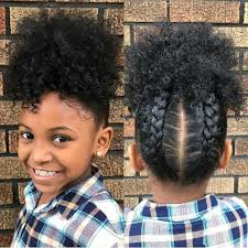 Cute and simple hairstyle for little girls! Braids and puff | Hair ...