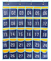Classroom Pocket Charts Misslo Numbered Classroom Pocket Chart For Cell Phones And Calculator Holder Hanging Wall Door Organizer 30 Pockets Blue Pockets