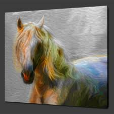 white horse canvas wall art