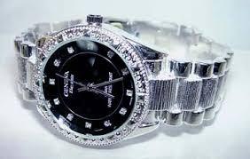 silver glittery flowers silver watch for men