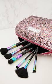 prettylittlething multi coloured glitter make up bag