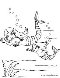 Small Picture Mermaids swimming coloring pages Hellokidscom