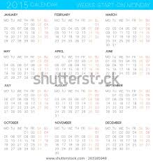 Simple Calendar Template 2015 2015 Monthly Calendar Template Simple Calendar Stock Vector