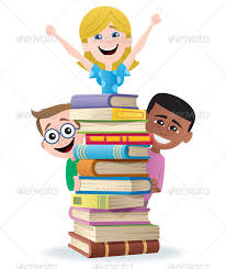 books and kids characters vectors