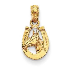 14k yellow gold horseshoe with horse head pendant d4048