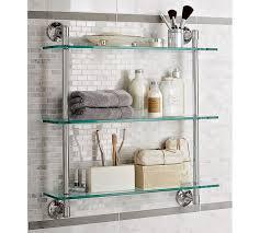 brilliant mercer triple glass shelf pottery barn bathroom shelves wall mounted decor