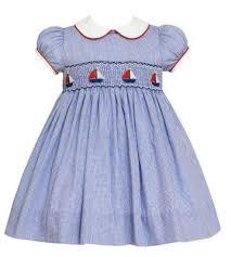 Anavini Baby Toddler Girls Blue Check Smocked Sailboats