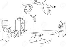 手術室グラフィック ブラック ホワイト インテリア スケッチ イラスト
