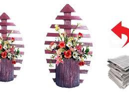 News Paper Flower Vase Craft Newspaper Flower Vase Wall Hanging Newspaper Craft