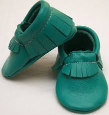 Emerald Moccs Baby Shoes Leather Emerald