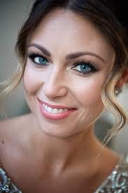 close up shot of bride in wedding makeup