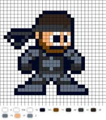 solid snake perler bead pattern cross sch gamespixel art