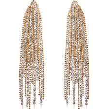 humble chic simulated diamond earrings oversized darling waterfall tassel cz statement chandelier studs gold tone cascade hypoallergenic