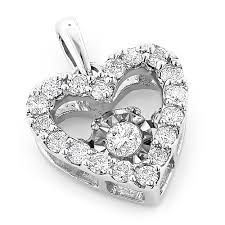 small las diamond heart necklace 0 36ct dancing diamond pendant main image