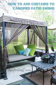 how to add curtains to a patio swing
