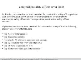 What Is An Cover Letter Construction Safety Officer Cover Letter In
