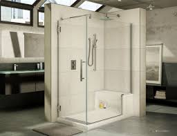 stall with inspiring 60 x 36 fleurco acrylic shower base with bench seat and matching one piece shower