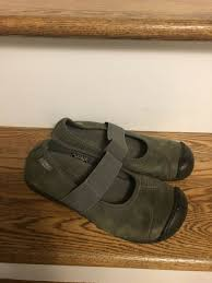 keen gray sienna leather mary jane slip on shoes size 6 eu 36 guc women s