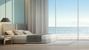 sea view bedroom in luxury beach house 3d rendering