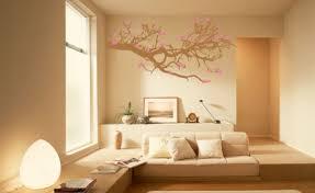 Natural Elegant Beige Color Living Room With Floral Wall Design Make