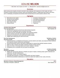 Striking Assistant Store Manager Resume Templates Objective Duties