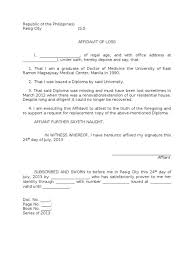 sample affidavit of loss a diploma mughals other size s