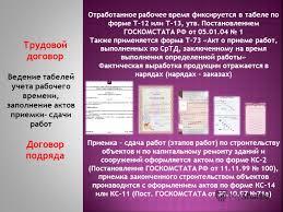 Презентация на тему Правовое регулирование Трудовой договор  16 Трудовой договор Договор подряда Ведение табелей учета рабочего времени