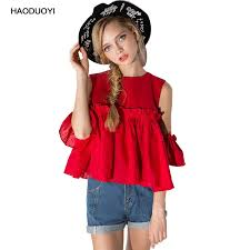 Haoduoyi Size Chart Haoduoyi Nice Pleated Ruffle Blouses Off Shoulder Puff