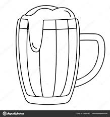 Lijn Kunst Zwart Wit Bierpul Stockvector Bessyana 206553162