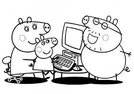 Famiglia Al Computer Disegni Da Colorare Categoria Peppa Pig