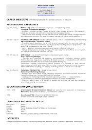 Marketing Resume Objectives Examples 77 Images Sales