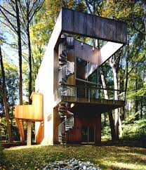 exterior custom and modern tree house design with glass wall plans t79 modern