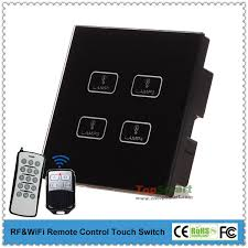 uk standard black 4 gang 2 way remote control touch switch for smart lighting control system