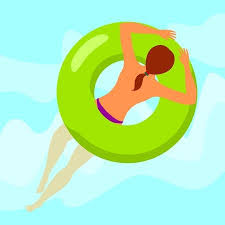 pool ring clipart. Exellent Ring Vector  Young Woman Topless Resting On Floating Green Rubber Ring Swimming  Pool Water Background Summer Rest Sea Vacation With Pool Ring Clipart