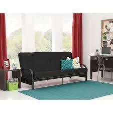 Walmart Living Room Furniture Sets Mainstays Black Metal Arm Futon With Mattress Black Walmartcom