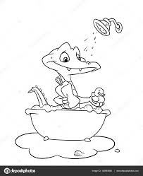 Kleine Krokodil Zwemt Badkamer Kleurplaten Stockfoto Efengai