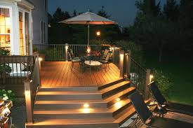 trex deck with stair riser and accent lights