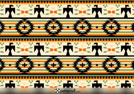 Navajo Pattern Beauteous Navajo Geometric Pattern With Eagles Vector Pattern Design By