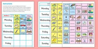 Autism Chore Chart Chore Chart For Home Chore Chart For Home Chore Chart
