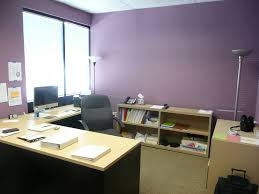 office wall paint colors. Cute Purple Wall Painted Color For Office Room With L Shape Table And Swivel Chairs Also Standing Lamp Paint Colors